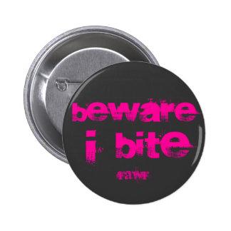 beware i bite 2 inch round button