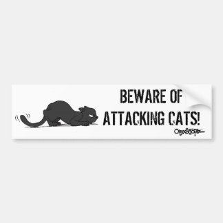 BEWARE OF ATTACKING CATS Bumper Sticker