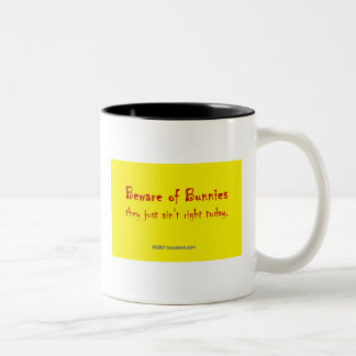 Beware of Bunnies Two-Tone Coffee Mug