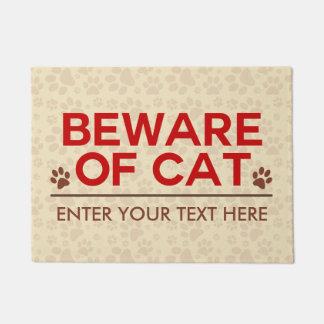 Beware of Cat Custom Text Doormat
