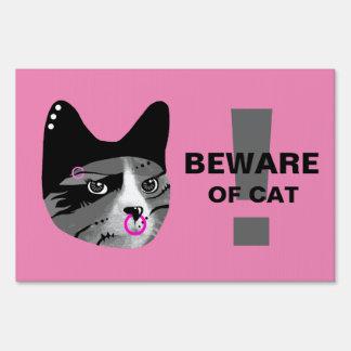Beware of Cat Sign
