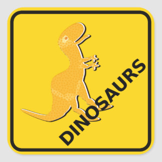 Beware of Cute Cartoon Dinosaurs Sign T-Rex Square Sticker