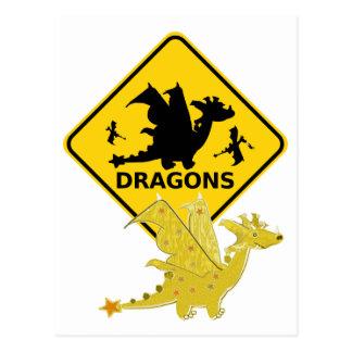 Beware of Cute Cartoon Dragon Postcard