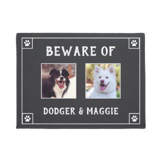 Beware of Dog Names - Two Photos Doormat