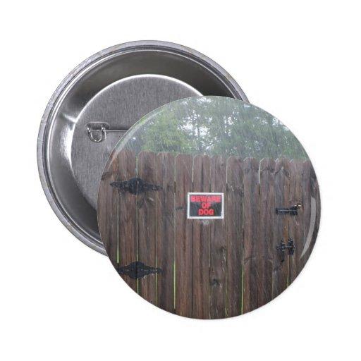 Beware of Dog Rain Pinback Buttons