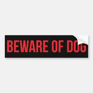 Beware of Dog Red on Black Bumper Sticker