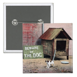 Beware of dog sign with small dog 2 inch square button
