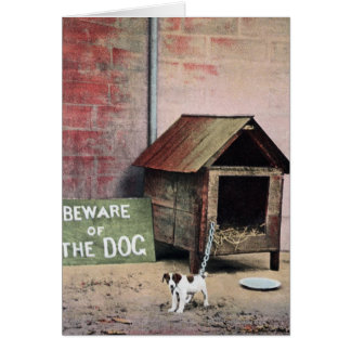 Beware of dog sign with small dog card