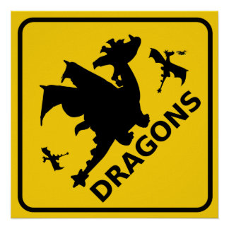 Beware of Dragons Warning Sign