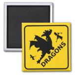 Beware of Dragons Warning Sign Square Magnet