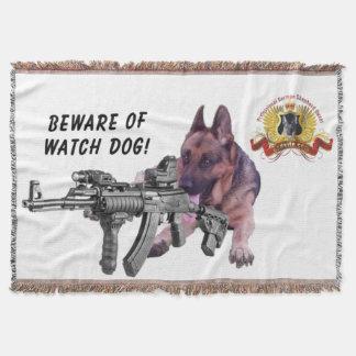 Beware of German Shepherd Guard Dog Throw Blanket