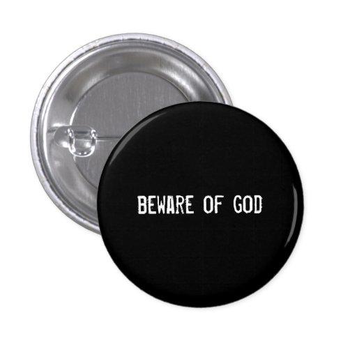 beware of god pinback button