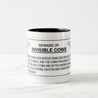 Beware of Invisible Cows, Sign, Hawaii, US Two-Tone Coffee Mug