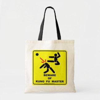 Beware of kung fu master canvas bag