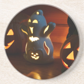 Beware of laughing spooks beverage coaster