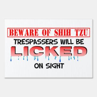 Beware of Licking Shih Tzu Sign