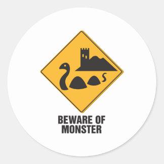 Beware Of Loch Ness Monster Classic Round Sticker