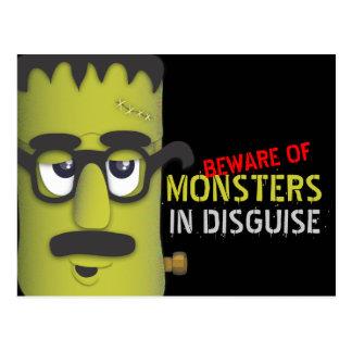 Beware of Monsters Funny Frankenstein Postcard