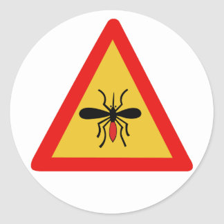 Beware of Mosquitoes, Traffic Sign, Finland Round Sticker