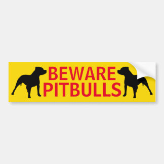 Beware of Pitbull Bumper Sticker