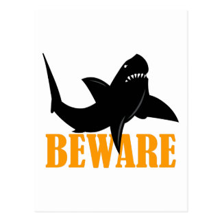 BEWARE OF SHARKS POSTCARD