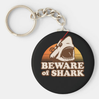 Beware of Sharks with Frickin' Laser Beams Basic Round Button Keychain