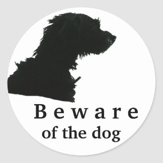 Beware of the dog classic round sticker