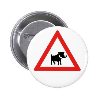 Beware of Warthogs, Traffic Sign, South Africa Pinback Button