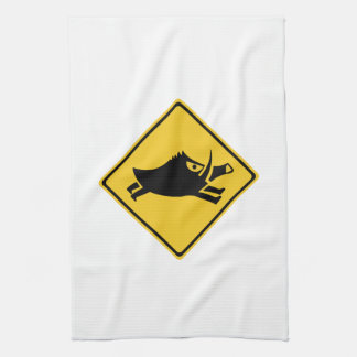 Beware of Wild Boars, Traffic Sign, Japan Kitchen Towel