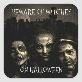 Beware Of Witches On Halloween Stickers