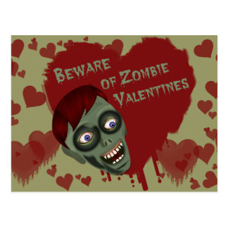 Beware of Zombie Valentines Postcard