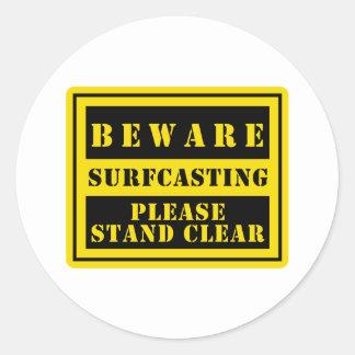BEWARE : Surfcasting Classic Round Sticker