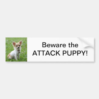 Beware the Attack Puppy Bumper Sticker