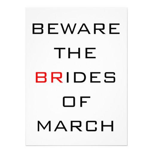 Beware The Brides of March Funny Wedding Personalized Invitation