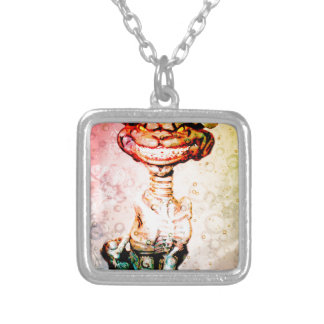 BEWARE THE CHESIRE GRIN SILVER PLATED NECKLACE