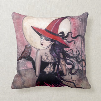 Beware the Red Spotted Owl Witch Throw Pillow