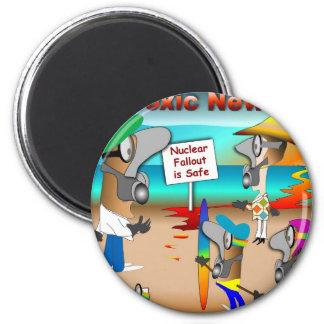 Beware Toxic News 2 Inch Round Magnet