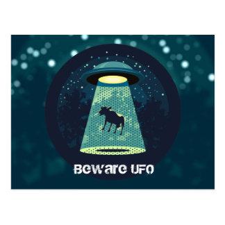 Beware UFO Postcard