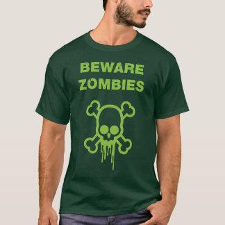 Beware Zombies T-shirt - Green On Dark Green