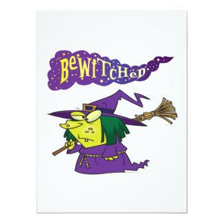 """bewitched silly cartoon witch 6.5"""" x 8.75"""" invitation card"""