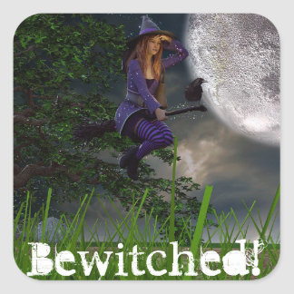 Bewitched Witch  Full Moon Halloween Stickers