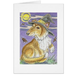 Bewitching Collie Dog Halloween Witch Card