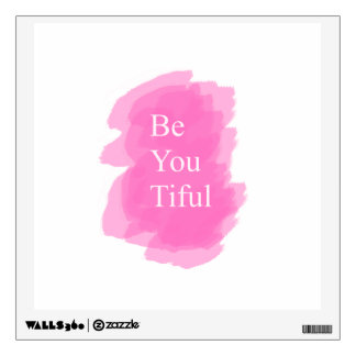 Beyoutiful pink wall decal for white wall