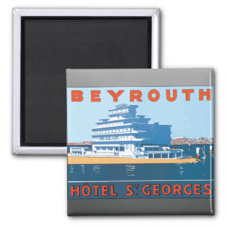 Beyrouth Hotel St. Georges, Vintage Square Magnet
