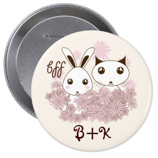 BFF - Best Friends Forever Cute Animal Kids Ivory 4 Inch Round Button