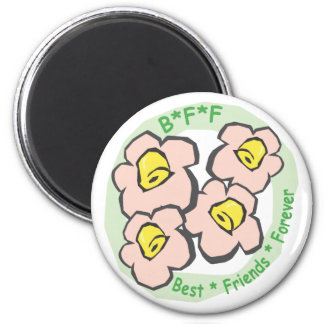 BFF Best Friends Forever Pink Flowers Magnet