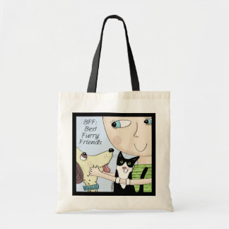 BFF BEST FURRY FRIEND DOG AND PERSON 8x8 600 Tote Bag