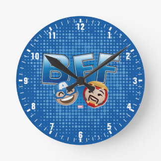 BFF Captain America & Iron Man Emoji Round Clock