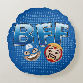 BFF Captain America & Iron Man Emoji Round Pillow