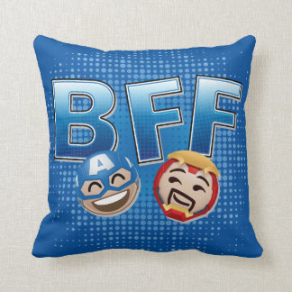 BFF Captain America & Iron Man Emoji Throw Pillow